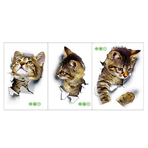 P Prettyia Etiqueta de La Pared de La Etiqueta Engomada de La Pared del Gato 3D para La Sala de Estar, Baño, Inodoro, Inodoro, Techo