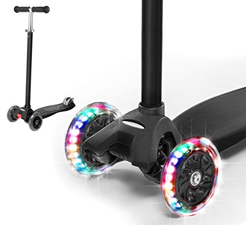 Rugged Racers Kick Scooter for Boys & Girls 3 Wheel Scooter, Adjustable Kick Scooter for Kids with PU LED Light Up Wheels, Step Brake, Lean 2 Turn, Ride on Toys for Children 5 Year Plus (Black)