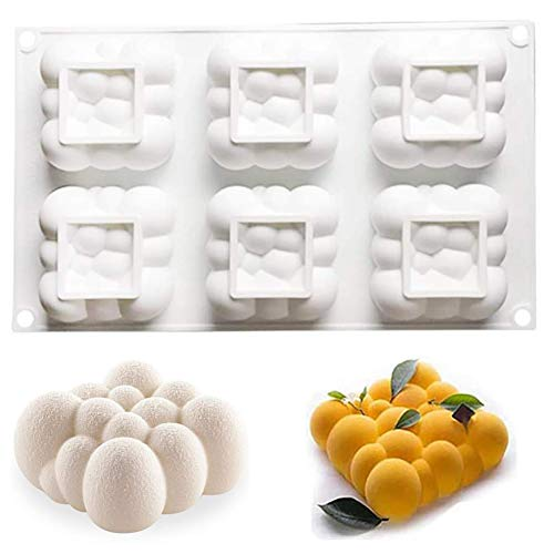 Molde de silicona para tartas, antiadherente, 3D, diseño de nubes de burbujas para cocina, mousse, trufa, pudín, jabón, velas, chocolate (6 cavidades)