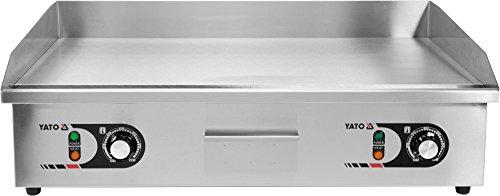 YATO Profi XXL Gastro elektrische Grillplatte | 73x42 cm | glatt | 4400 Watt (2 x 2,2KW | Griddle Platte Bräter Grill Indutrie Imbiss