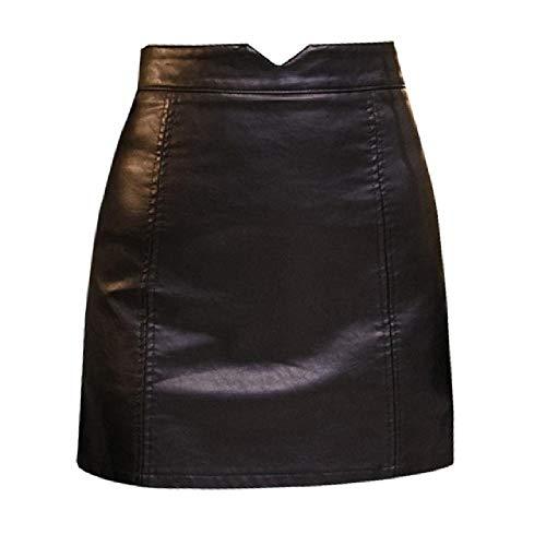 NOBRAND Falda casual de piel sintética para mujer, elegante, con cremallera, minifalda de línea A, faldas de cintura alta, color negro