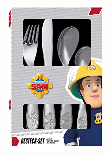 POS 27138 - Besteckset mit Feuerwehrmann Sam Prägung, 4 teiliges Kinderbesteck aus rostfreiem Edelstahl, spülmaschinengeeignet, bestehend aus Messer, Gabel, großer und kleiner Löffel