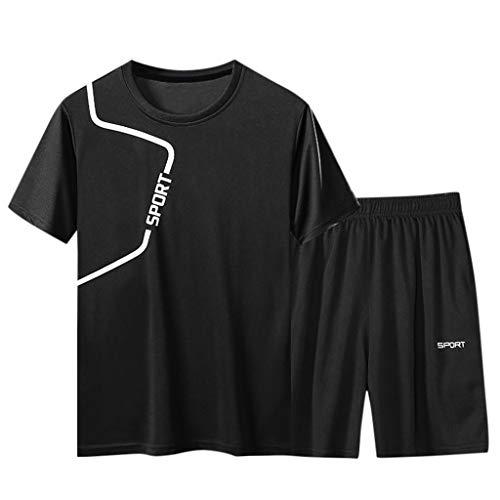 Longra Herren Jogginganzug Casual Fitness Kurzarm Sportanzug Bekleidung Gym Shorts Set Schnelltrocknender
