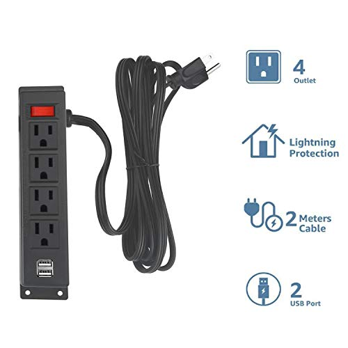 Wall Mount Power Strip with 4 Outlet, Mountable Power Strip with 2 USB Ports, 4-Port Under Desk Mount Connect with 6FT Power Cord, for Workbench, Nightstand, Dresser, Table.