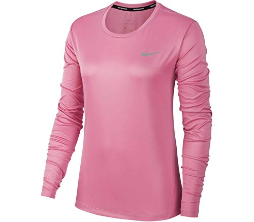Nike Damen W NK Miler TOP LS Long Sleeved T-Shirt, Magic Flamingo/(Reflective silv), M