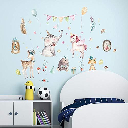 ZJXSNEH Pegatinas de Pared Caballo Volador Rosa de Animal de Dibujos Animados Pegatinas Decorativas Extraíbles Para Dormitorio y Sala de Estar 50X70CM