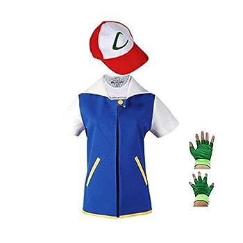 SAIANKE Costume Hoodie Cosplay Jacket Gloves Hat Sets for Trainer Kids Blue 120 for 6-7T