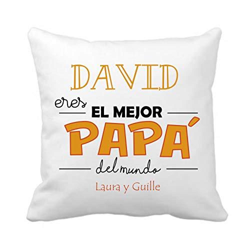 Kembilove Cojín Personalizado Eres el Mejor Papá del Mundo en Naranja – Cojines Decorativos Personalizados con Bonitos Mensajes para Padre – Ultra Suaves y Cómodos Papá