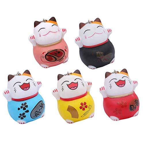 VALICLUD 5 Piezas Gato de La Suerte Muñeca Figura Llavero Feng Shui Maneki Neko Llaveros Encantos Riqueza Fortuna Llavero Navidad Calcetín