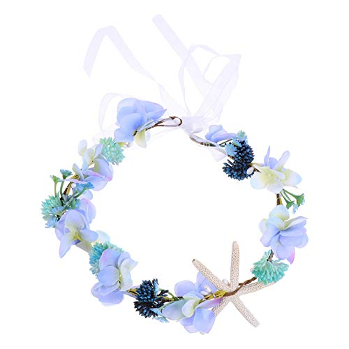 Lurrose Wedding Flower Wreath Seashell Flower Hair Wreath Flower Garland Headpiece for Women Girls