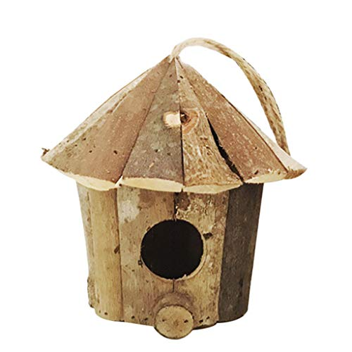 Joocyee Esterno casa in Legno rifugio per Uccelli Habitat per Uccellini Piccoli Chickadees passeri, casetta per Uccelli in Legno Rurale, Legno