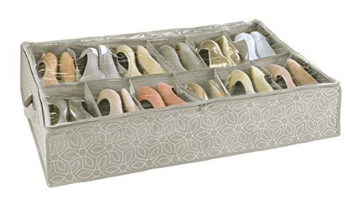WENKO Custodia sottoletto per scarpe Balance - Custodia portascarpe con 12 scomparti, scatola portascarpe con coperchio, Polipropilene, 74 x 15 x 60 cm, Tortora