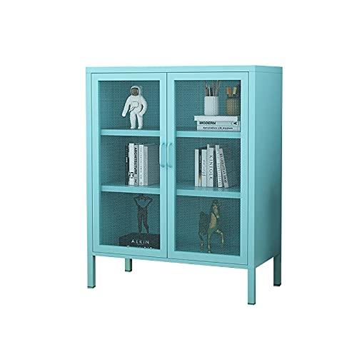 GPAIHOMRY Exquisito armario de almacenamiento de hierro forjado con red de hierro doble, fácil de montar, 80 x 40 x 101,5 cm (azul)