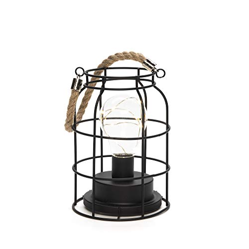 Konstsmide Round Lantern with Micro Rope Handle / 6 Hour Timer / 3 x AA Batteries (Excl.) / 9 Warm White String Lights GNOS LED-Metalllaterne 1815-700 innen 9 warmweiß, metall, Schwarz