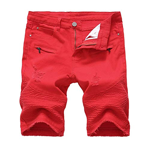 LERUCCI Mens Skinny Ripped Destroyed Distressed Jeans Denim Shorts Ripped-Red W30