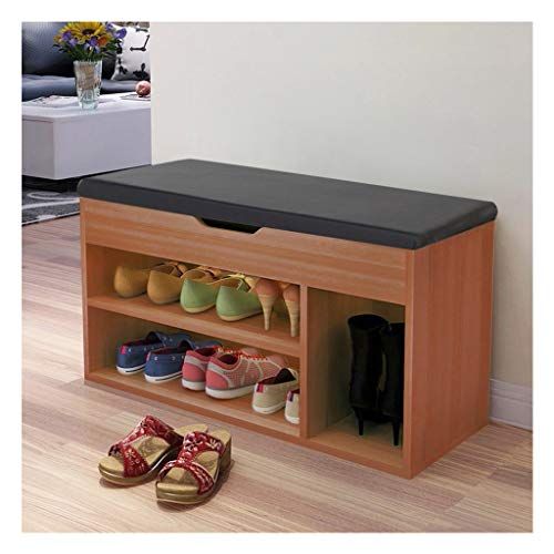 Aiwish Entryway Bench,Shoe Rack Bench,Shoe Storage Bench with Cushion Seat, 3 Tier Multi-Function Shoe Organizer, Sturdy Storage Shelf Holds,for Comfort and Style, for Living Room, Foyer or Hallway
