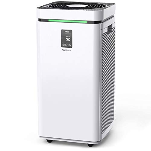 Pro Breeze Large Air Purifier HEPA 13 Filter - WiFi and Smart App Air Purifier with 2000 Sq Ft Coverage, 800 CADR & 6 HEPA, Activated Carbon Layers - HEPA Air Purifiers for Home Office