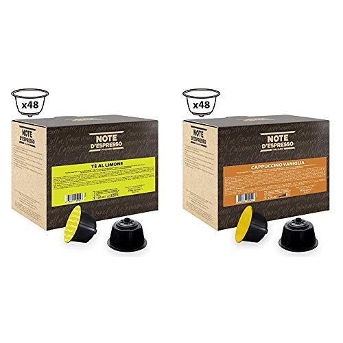Note DEspresso Capsulas de Te al Limon compatibles con cafeteras Dolce Gusto - 48 Unidades de 12g, Total: 576 g + Capsulas de Capuchino con Vainilla - 48 x 9 g, Total: 432 g