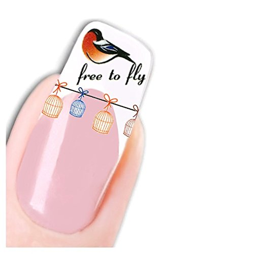 Just Fox – Stickers oiseaux Free To Fly Bird pour ongles Nail art ongles autocollants Pied Water Decal