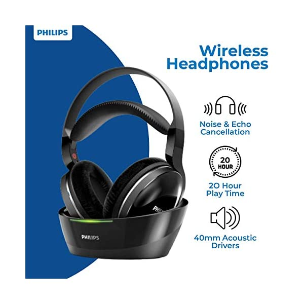 PHILIPS Wireless Headphones for TV Watching Over Ear Stereo Headset High Resolution Home Cinema Sound Audio 2.4GHz 4