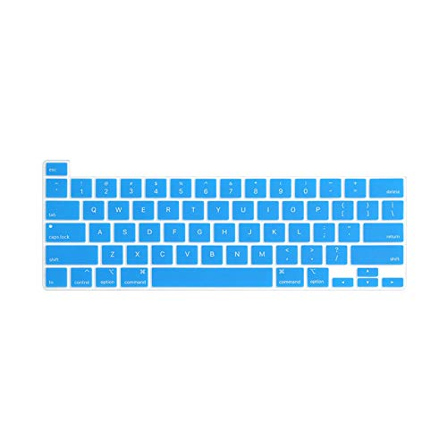 US Keyboard Cover for MacBook Pro 16 inch A2141 Keyboard Protector Silicone Waterproof Keyboard Skin Guard-Lake Blue