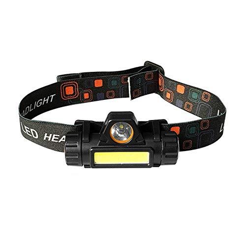 Linterna frontal LED recargable por USB, ligera, resistente al agua, para camping, pesca, correr, cable USB incluido