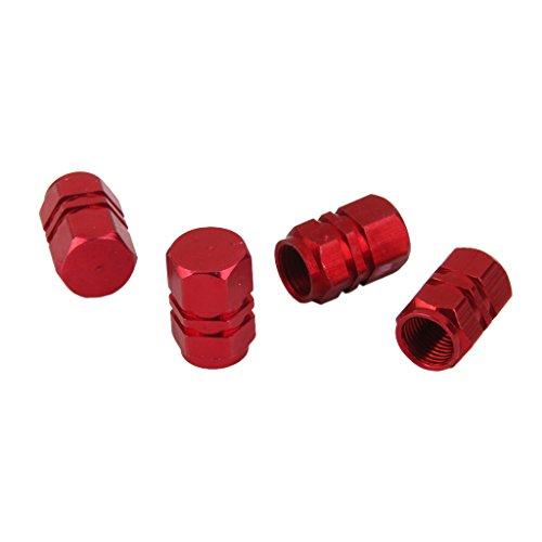 MagiDeal 4x Tapas Tapones Válvulas Cubierta de Neumático Aluminio para LLanta de Camión Coche Color Rojo