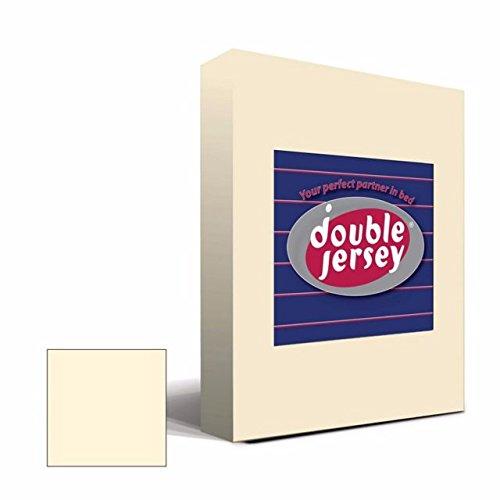 #12 Double Jersey Jersey Spannbettlaken, Spannbetttuch, Bettlaken, 160x200x30 cm, Creme - 2