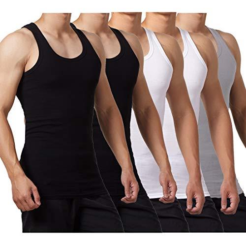 FALARY Camiseta de Tirantes para Hombre Pack de 5 de Algodón 100% más Colores Negro Blanco Gris L