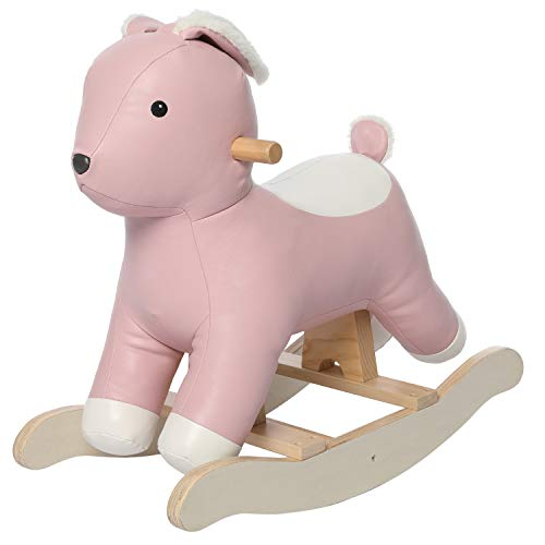 labebe Baby Rocking Horse Rabbit Pink, Kids Rocking Bunny Toy Leather, Wooden Ride On Rocking Toy for 1-3 Years, Children Plush Animal Rocker Horse Infant/Toddler Gift