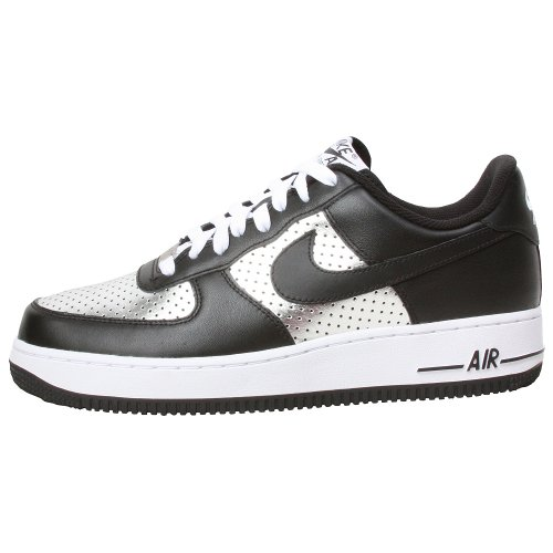 Nike Men's AIR Force 1 '07 Basketball Shoes 12 (Metallic Silver/Black/White)