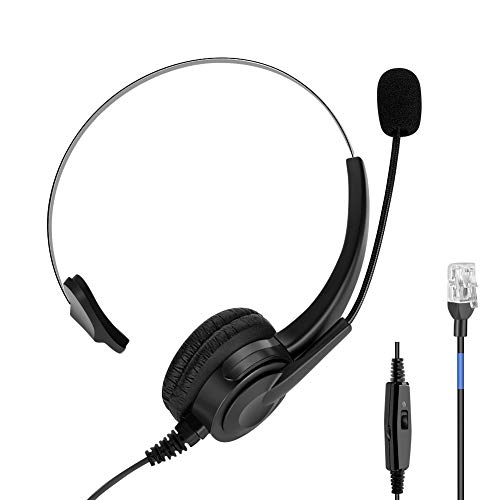 Auriculares Teléfono Fijo RJ9 Auricular Cableados Monoaural con Control de Volumen, Micrófono con Cancelación de Ruido Profesional para Teléfono Fijo IP Phone Oficina
