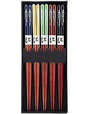 5 pares/set de palillos, palillos reutilizables de bambú de estilo japonés, juego de regalo