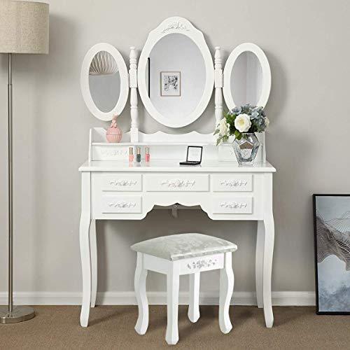 Huisen Furniture Shabby Chic - Juego de tocador con Espejo y 7 cajones y Taburete para Dormitorio de Princesa