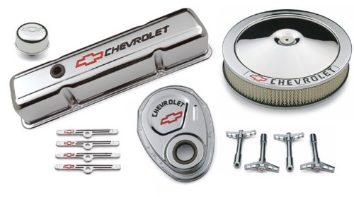 Proform 141-900 Chrome Engine Dress-Up Kit with Black Chevrolet/Red Bowtie Logo for Small Block Chevy