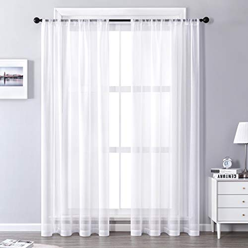 CUTEWIND Sheer Curtains 45 inch Length Rod Pocket Small Window Voile Curtains for Living Room Basement Transparent Drapes Window Treatment(Set of 2 Panels,37 x 45 Inch, White)