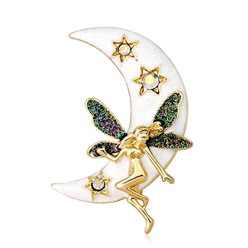Generic Broche de cristal con forma de luna y estrellas para mujer, color dorado antiguo, metal esmaltado, figura de ángel, alas de hada, alas, pins, joya para bufanda Hijab