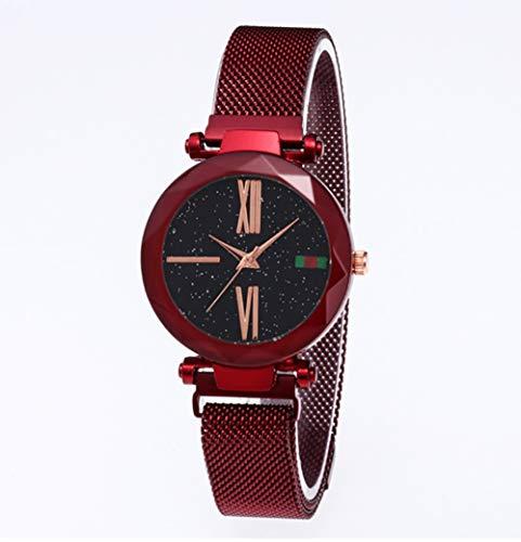 Fitbitt Quarzuhren, Mode Analog Quarz Uhren Magnetband Starry Sky Dial Armbanduhr für Mädchen/Frauen Wasserdicht,Red