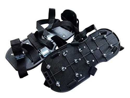 Nagelschuhe Profi (montiert) - Nagelsohle - Estrichschuhe - Rasenbelüfter, aus hochwertigem Nylon, schwarz mit je 11 Nägeln à 55 mm Länge, FERTIG MONTIERT - Profi Qualitäts-Werkzeug