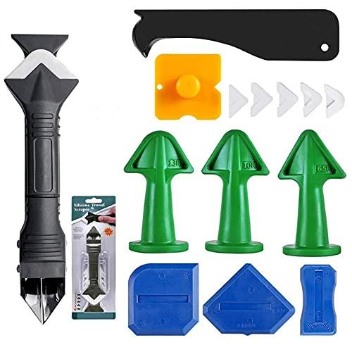 Juego de herramientas de silicona para eliminar juntas, 15 unidades, multifunción, 3 en 1, para cocina, baño, baldosas