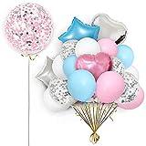 Uniusn Globo confeti 36 pulgadas para decoración fiesta cumpleaños, globo aluminio con forma corazón cinco estrellas, para cumpleaños niños, fiesta hermanas, bodas, fiestas, eventos de aniversario
