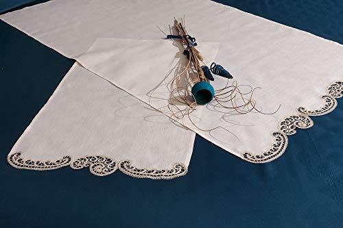 Annamaria Cappellini Par de toallas de encaje Cantu a mano de puro lino 100% color crudo artículo Valencia.