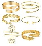 SHIWE 6 Pieces Arm Bracelet for Women Girls Gold Mental Open Upper Arm Bangle Bracelet Simple Adjustable Armlet Armband Set