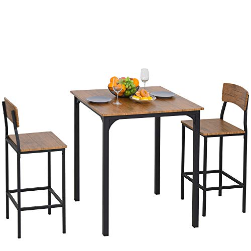 HOMCOM 3tlg. Essgruppe mit 2 Stühlen, Esszimmergarnitur, Sitzgruppe, Tischgruppe, Braun + Schwarz, 81,5 x 81,5 x 93 cm