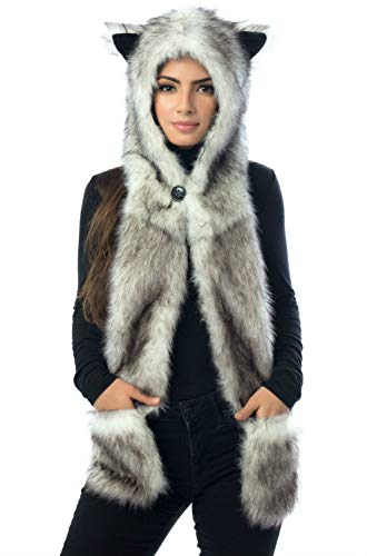 White Wolf Hood Faux Fur Hat with scarfs mittens & paws 3 in 1 by Hatbutik