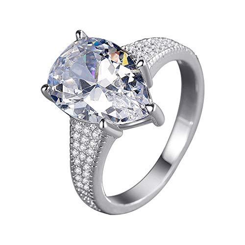 RKWEI Anillos Taladro De Simulación Anillo De Diamantes De Gran Quilate Compromiso Pareja Anillo De Diamantes Anillo Grande @ 7