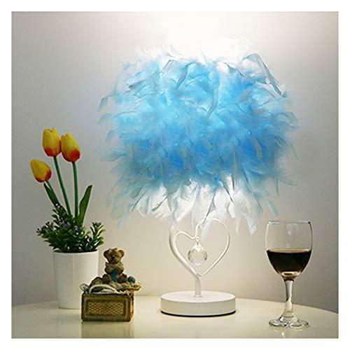 FU_YING Lámparas de mesa y mesilla de noche Lámpara de mesa de cristal de la lámpara de mesa del cristal de la pluma de la sala de estar del dormitorio de Lampe de la mesa de lectura (color : Azul)