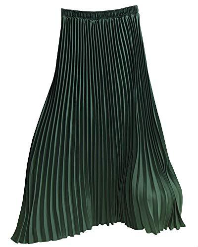 Faltenröcke Damen Elastische Taille Langer Frühling Herbst Rock Plisseerock Dunkelgrün 80CM