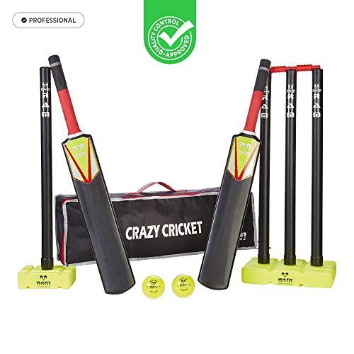 Uber Games Crazy Cricket Set – Zwei Größen erhältlich, Junior oder Senior – Spiel, Spaß, Outdoor