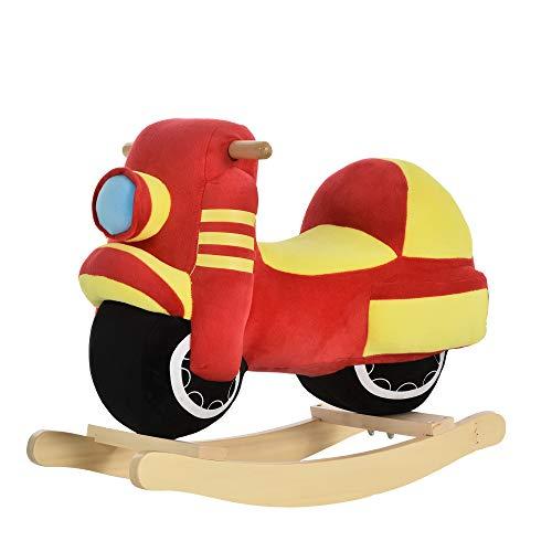 homcom Dondolo per Bambini 18-36 Mesi a Forma di Moto in Legno e Peluche Rosso e Giallo, Suoni Realistici, Max. 40kg
